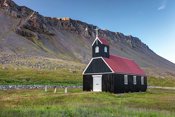 Sauraejarkirkja church  in the Westfjords of Iceland by Pierre Leclerc Photography