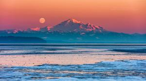 Mount Baker Full Moon At Sunset